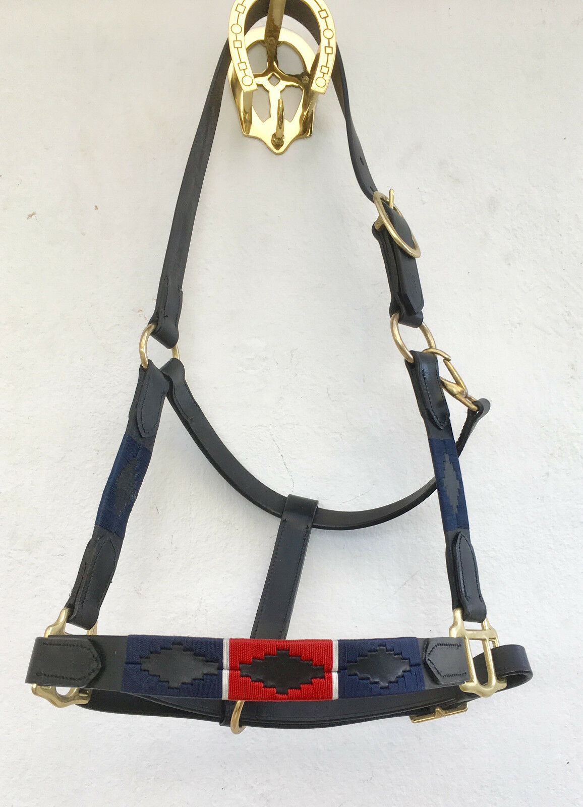 POLO LEATHER HEAD COLLARS IN RED blueE. PONY COB FULL XFULL SIZES