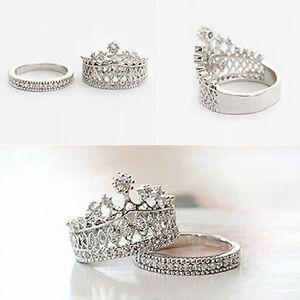 Women-039-s-Fashion-Queen-Crown-Pattern-Ring-Set-Rhinestone-Two-piece-Rings-Precious