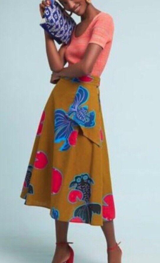 Nwt Anthropologie Beta Fish Eva Franco Midi Skirt 6