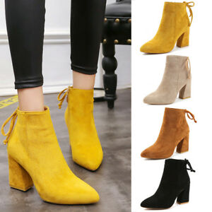 Women-Ladies-Pointy-Toe-Suede-Boots-Ankle-Martin-Shoes-Boots-High-Block-Heels-UK