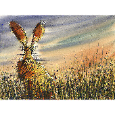 Set of 4 HARE PRINTS seasonal Mothers Day GIFT Present from Watercolour Painting