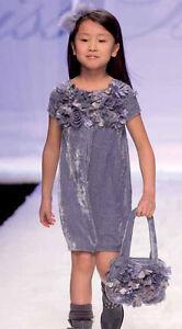 MISS-BLUMARINE-Luxus-Kleid-amp-Tasche-Samt-3D-Bluten-blau-Gr-116-122-NEU