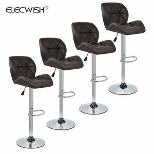 Set of 4 Adjustable Bar Stool Hydraulic Dining Chair Kitchen Seat Adjustable US