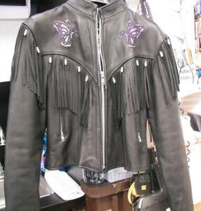 à Coatxxl franges noir cuir en Leathers trd femmes pour dwFr5w