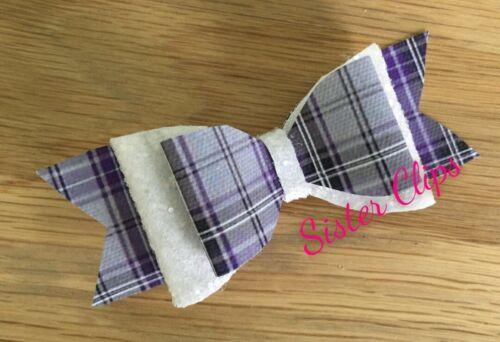 """École Gris Lilas//Violet TARTAN VICHY /& Violet Glitter hair bow clip 4/"""""""