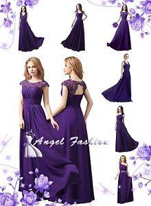 4d658c0f96b UK Cadbury Purple Lace Chiffon Long Maxi Evening Wedding Bridesmaid ...