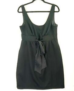 REVIEW Women's Size 14 Black Metallic Flecks Bow Front Sleeveless Sheath Dress
