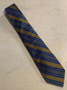 Vtg-60s-Mid-Century-Blue-Gold-Stripe-Acetate-Tie-Mod-Retro-54-3-5