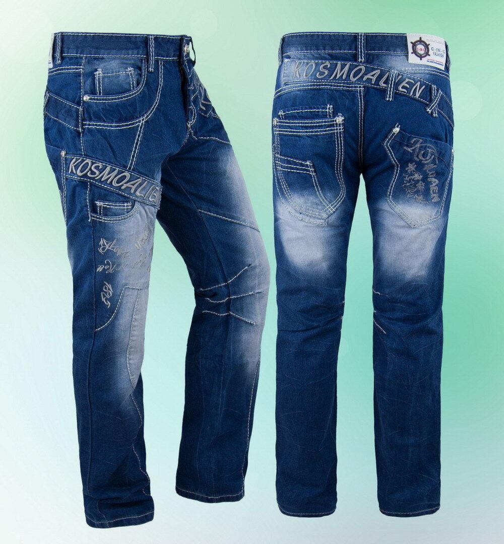 JEANS Uomo Pantaloni Spessore Cuciture Cuciture Cuciture Clubwear KOSMO BLU 29 30 31 32 33 34 36 a8426e