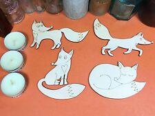 WOODEN FOX HEART SET  Shapes 12cm (x4) laser cut wood cutout crafts shape blanks