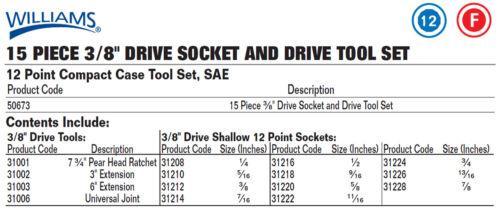 "Williams 50673 15pc 3//8/""Drive,1//4/""-7//8/""SAE Supertorque®12Point Sockets/&Drive Set"