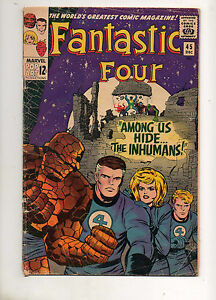 Fantastic Four #45 VG 4.5 1ST APP INHUMANS! 1ST BLACK BOLT,CRYSTAL,TRITON,KARNAK
