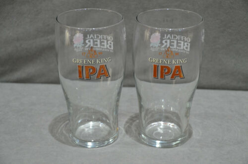 2 Greene King IPA Pint Glass Official Beer Of England Rugby CE M08 Two Pair Of