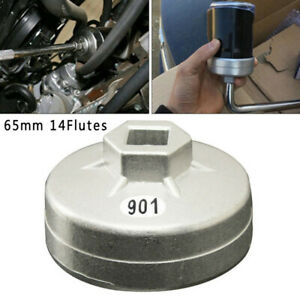 901 Herramienta de llave de tapa de filtro de aceite 65mm 14 flautas Tapa de aluminio Llave de filtro de aceite Herramienta de extracci/ón de enchufe de coche