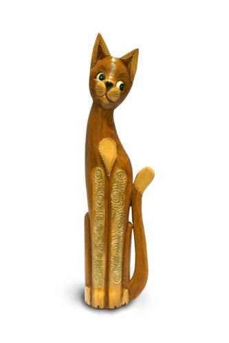 60cm Hand Carved Fair Trade Wooden Cats