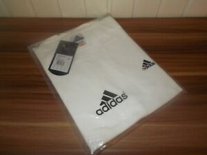 Tee-t-shirt-sport-blanc-homme-brode-noir-Adidas-L-6FR-44-46UK-NEUF