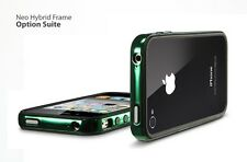 SGP Neo Hybrid custodia cover Case Bumper per iPhone 4 S verde cromo