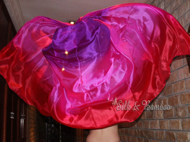 "3yd*45"" 5mm red/pink/purple belly dance silk veil+carry bag! free shipping!"