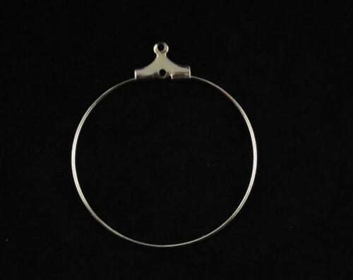 100PCS Silver Tone wine glass hoop charm wire earrings 30mm #22608