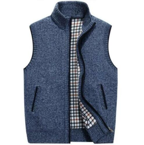 2019 Mens Velvet Sweater Vest Full Zip Mock Neck Slim Sleeveless Jacket Coat Top