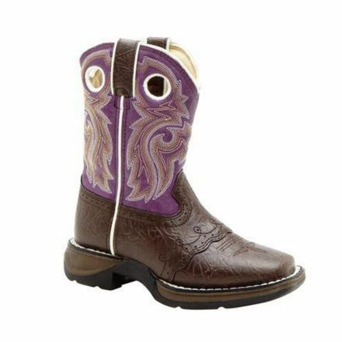 "Durango Lil/' BT286 Youth Girls Dark Brown And Purple Lacey 8/"" Western Boots"