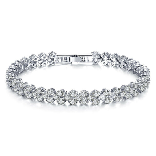 Women's Fashion Roman Chain Clear Zircon Crystal Bangle Rhinestone Bracelet Gift