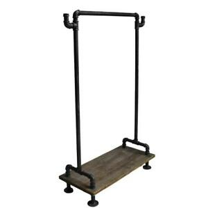Topower-Industrial-Cloth-Storage-Garment-Rack-Stand-Wood-Metal-ShoeShelf-Rolling