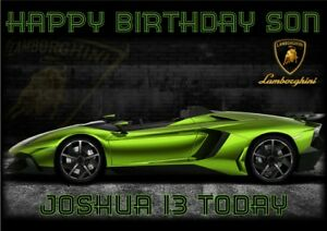 Personalised Birthday Card Lamborghini Sports Car Any Name Age