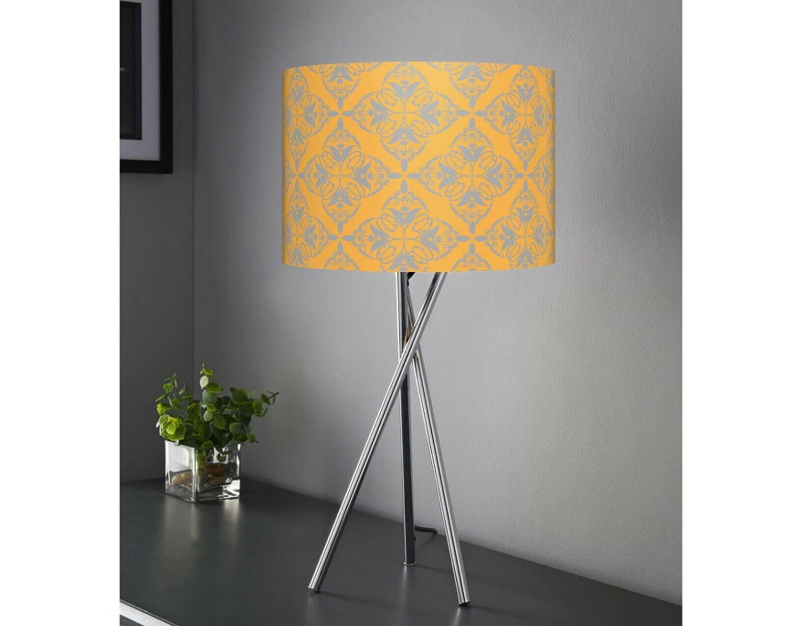 Bedside Table Lamp Tripod Lamp Mustard grau Fabric Shade