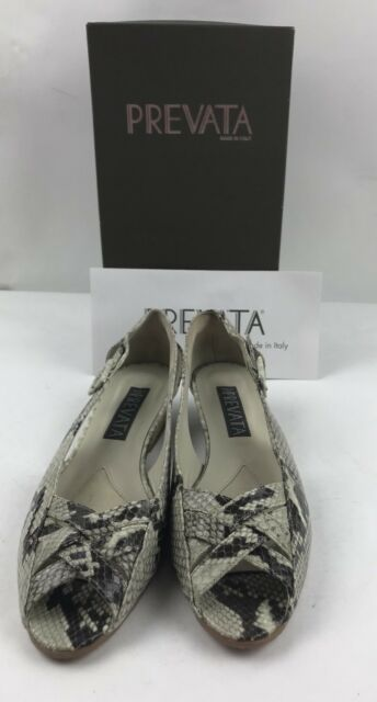 05f8e2d071997 Prevata Italian Women's Shoe Snake Skin Python Open Peep Toe Size 8 ...
