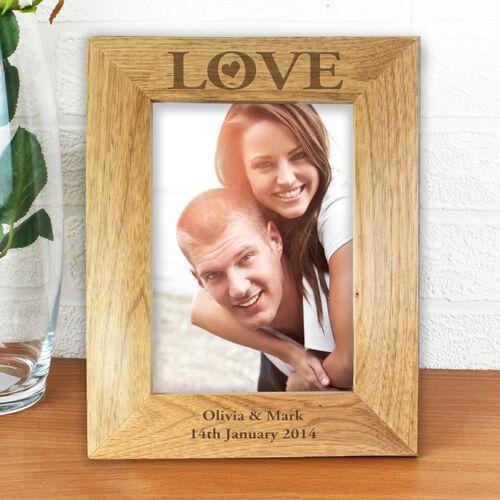 fiançailles Love personnalisé gravé cadres photo en bois-cadeau anniversaire