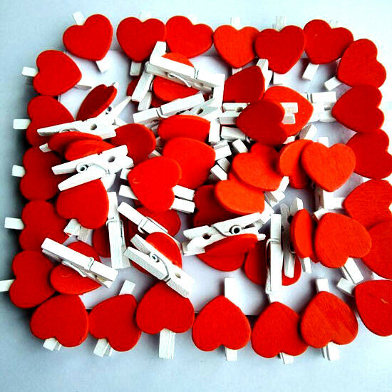 2.5*2.3 cm Mini Wooden Pegs Photo Clips Hearts White Wedding Decor Craft