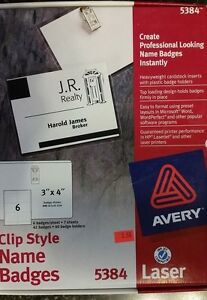 avery 5384 garment friendly clip style name badges 40 badge holders