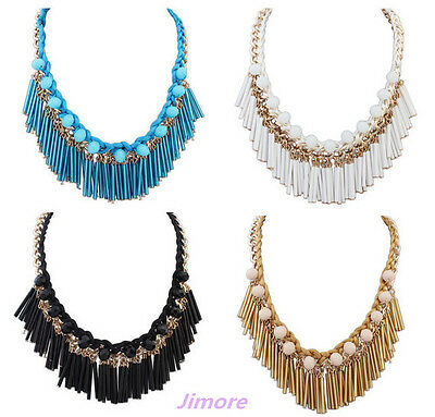 New Design Fashion Gold Tassel Bead Women Statement Bib Collar Bib Necklace