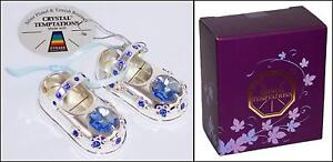 a9a4a2fc8dc Blue Baby Boy Silver Plated Crystal Shoes 1st Birthday Christening ...