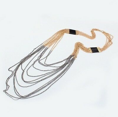 New Design Women's Fashion Punk Multi Layered Tassels Chain Long Necklace