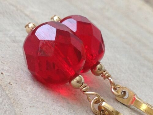 Vintage Red Faceted Glass 14ct Rolled Gold Drop Earrings