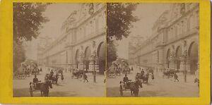 Louvre Vista Istantanea di Parigi Stereo Vintage Verso 1865