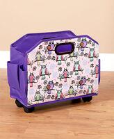 Rolling Craft Organizer Owls Tote Multi Purpose Storage Pockets Wheels Gift