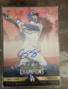 Los Angeles Dodger World Series MVP Corey Seager Ben Ball Autograph Card 16/25