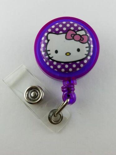 HELLO KITTY Purple  Polka Dot Print Retractable ID HOLDER badge reel lanyard