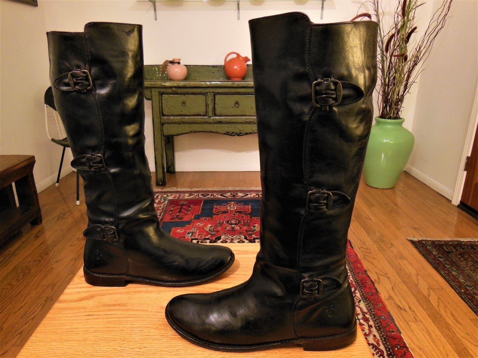 Vintage FRYE Women's PAIGE Black 3 Buckle Leather Tall Fashion Boots 8B