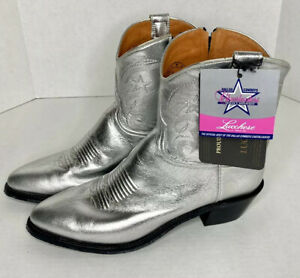 NWT-Lucchese-Dallas-Cowboys-Cheerleader-Iconic-Silver-Boots-Side-Zip-Womens-11