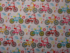 Bikes on White background 100% cotton - Riley Blake Fabric per Fat Quarter