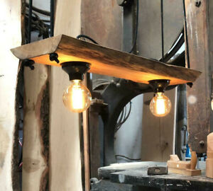 Hangelampe Deckenlampe Holz Eiche Massiv Vintage Rustikal