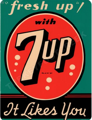 """7UP FRESH UP IT LIKES YOU  9/"""" x 12/"""" Sign"""