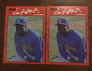 1990 Donruss Ken Griffey Jr Error Cards (no Dot After Inc) #365 Lot Of 2