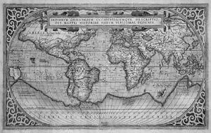 Bw huge historic 1589 world map old antique style wall map fine image is loading b amp w huge historic 1589 world map gumiabroncs Gallery