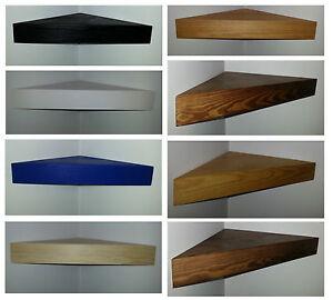 Image Is Loading Floating Corner Shelf Wood Solid Pine Black White