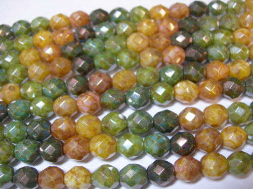 Rainbow Picasso Luster Czech Glass  Beads 8mm 15 beads
